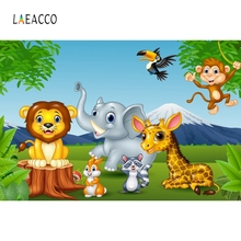 Laeacco Jungle Safari Birthday Backdrops Baby Cartoon Party Forest Animal Portrait Poster Photo Background Studio