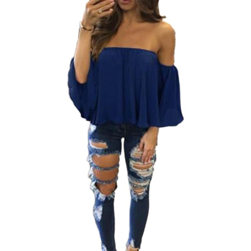 blanco Manga azul Blusas Nueva Las Negro Camisa Playa Blusa Mujeres Hombro Mujer Verano Tops Ropa Media De Sexy 2019 Camisetas qxgw8xHEUn