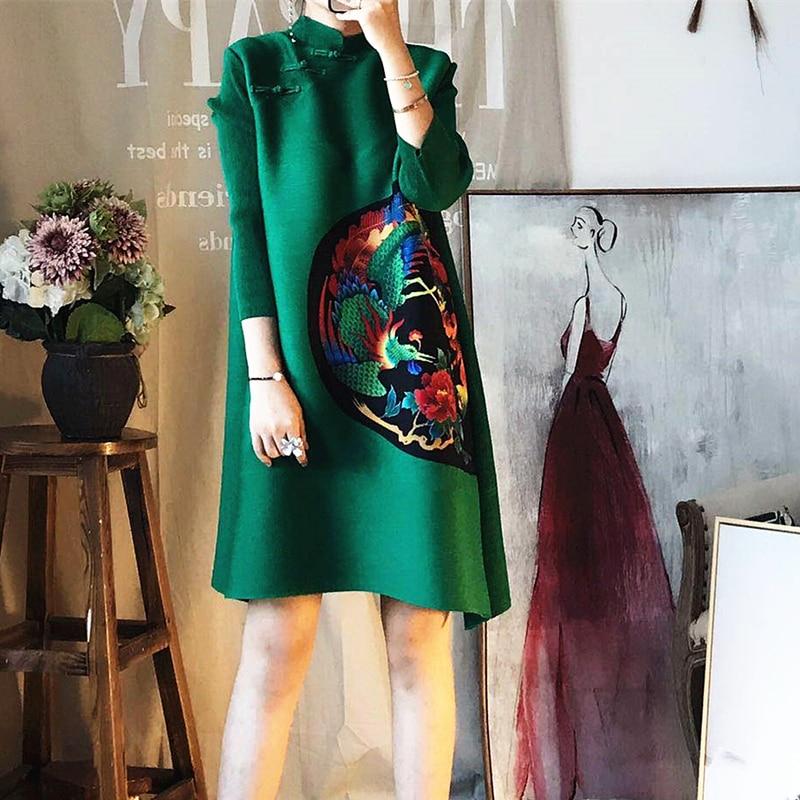 Azterumi Issey Miyake Printemps Nouveau 2019 Femmes Élégant Plissé Mini robe pour femmes Vintage Imprimé Animal robe de fête Vert Rouge