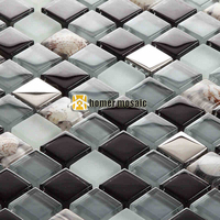 Black Gray Glass Mixed Stainless Steel And Sea Shell Mosaic For Bathroom Shower Tiles Kitchen Backsplash