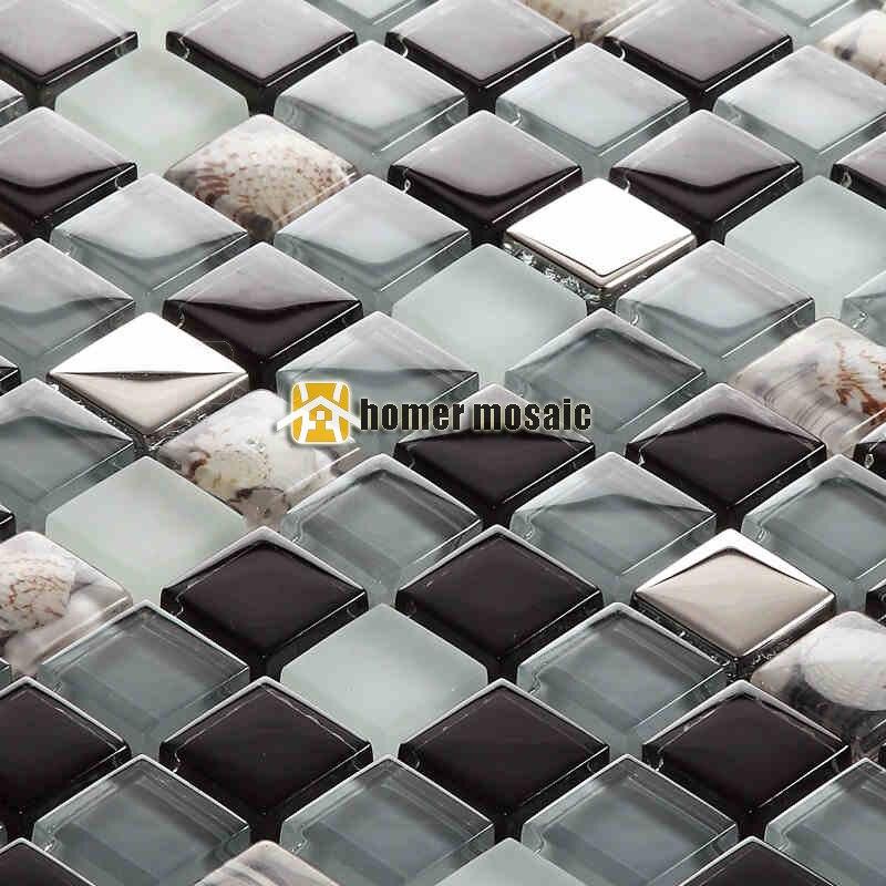 black gray glass mixed stainless steel and sea shell mosaic for bathroom shower tiles kitchen backsplash tiles hmb1455