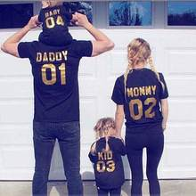 Black t-shirt with gold letters / Family Matching outfits / Glitter letters(China)