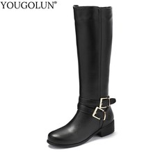 Motorcycle Knee High Boots PU Women Winter Ladies Mid Heels A242 Fashion Woman Buckle Zipper Black Brown Round toe Warm Shoes naytilyt pu eco leather shoes woman ankle warm winter boots women high heels zip round toe nature wool brown gray size 36 40