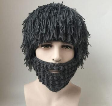 New Wig Beard Hats Hobo Mad Scientist Rasta Caveman Handmade Knit Warm Caps Men Women Halloween Funny Party Mask Beanies Hat