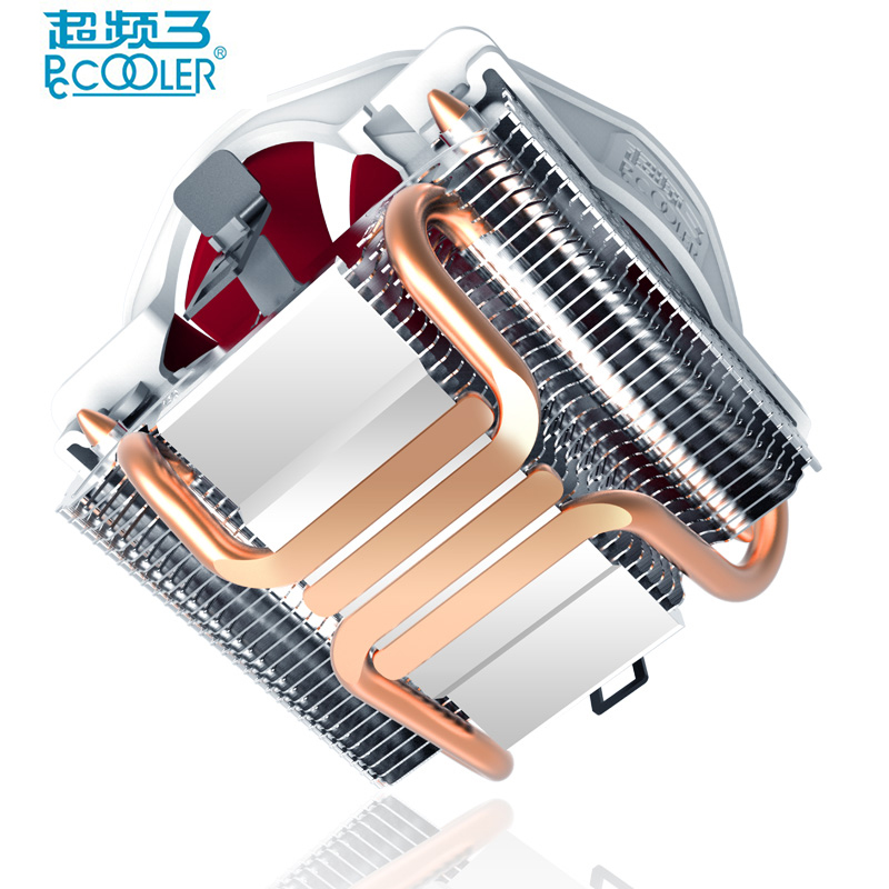 Pccooler V6 4 Copper Heatpipes CPU cooler for AMD Intel 775 1150 1151 1155 CPU radiator 120mm 4pin cooling CPU fan PC quiet salmon