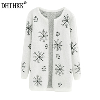 2016 Autumn And Winter Female Sweater Coat Snowflake Pattern Long Round Collar Knit Cardigan Women Sweater