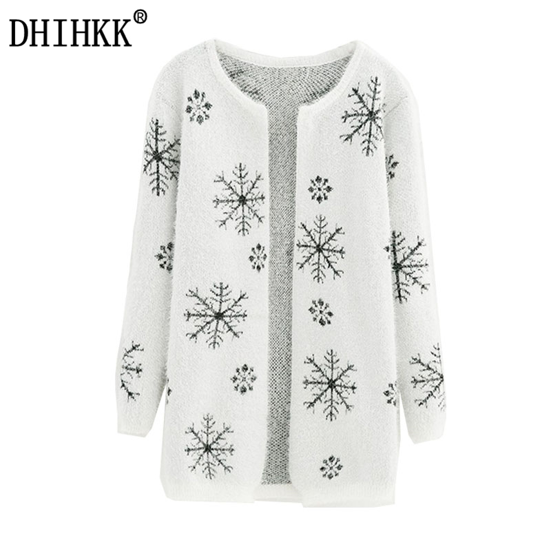 988267f49a5 Knitted Cardigan Women Sweater Coat Chrismas Gift Autumn and winter Female  Sweater Snowflake Long Round Collar High Quality