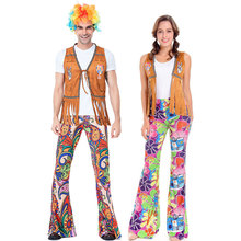 Umorden Adult 60s 70s Retro Hippie Gogo Girl Disco Costume Hip Hop Singer Cosplay for Women Men Couple Fancy Costumes Dress