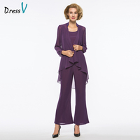 Dressv regency 3 pieces mother of the bride pants suit with long jacket long sleeves for wedding party mother of the bride dress