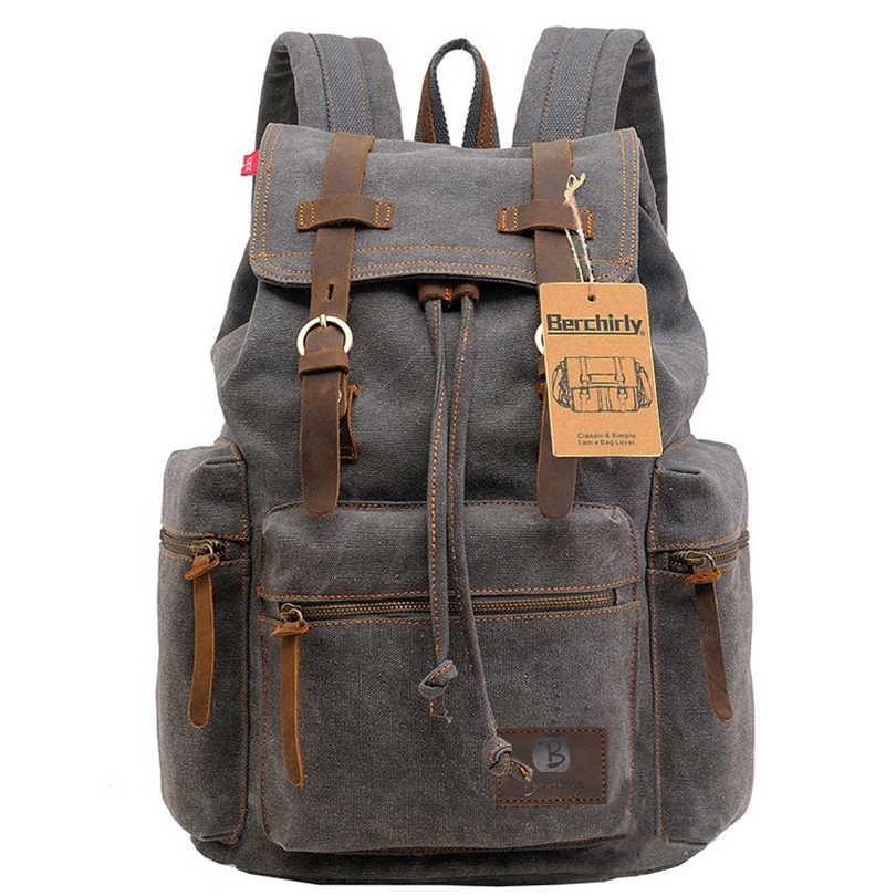 c72752d39ced Подробнее Обратная связь Вопросы о Винтажные кожаные рюкзак милитари мужские/женские  школьные рюкзаки мужские дорожные сумки большой парусиновый рюкзак ...