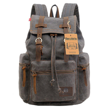 Mochilas de cuero Vintage para ordenador portátil, mochilas escolares para hombres y mujeres, bolso de viaje para hombres, mochila grande de lona, bolsas de gran capacidad Berchirly