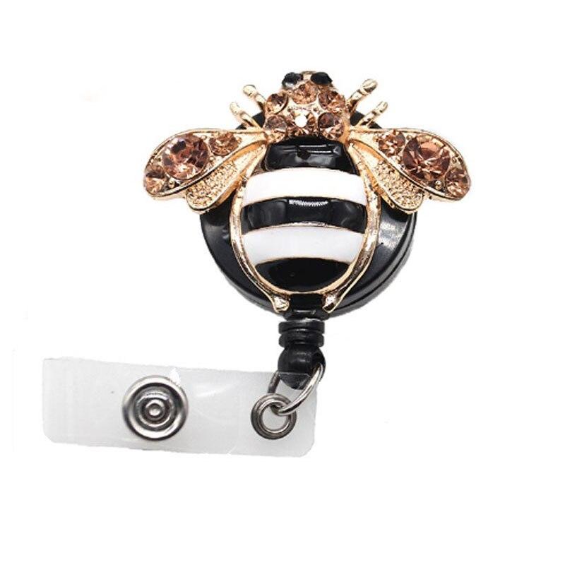 50/100 pcs/lot mignon émail strass rétractable Animal abeille enseignant ID Badge titulaire/badge bobine cadeau pour infirmière