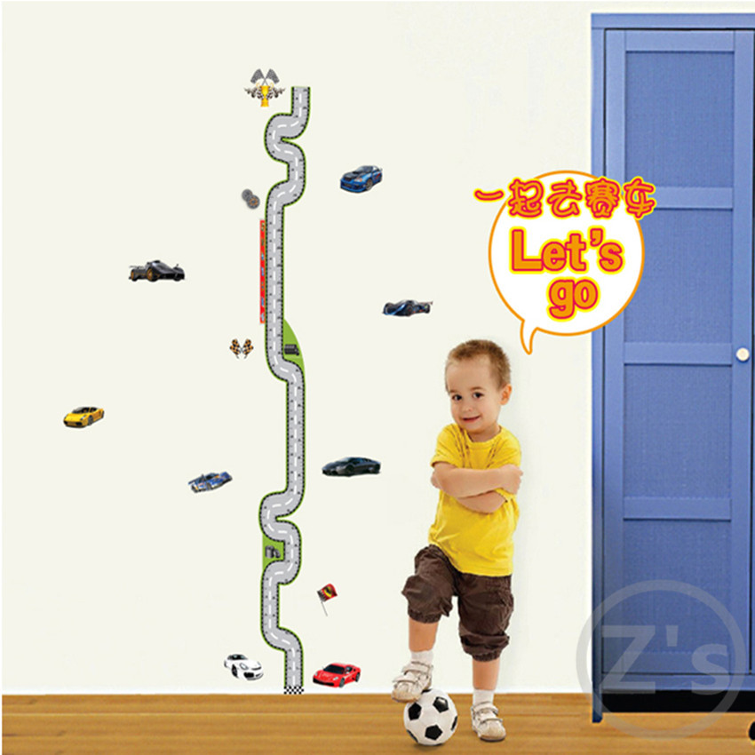 Lovely Cartoon Cars Height Measure Stickers Wall Decoration Decals