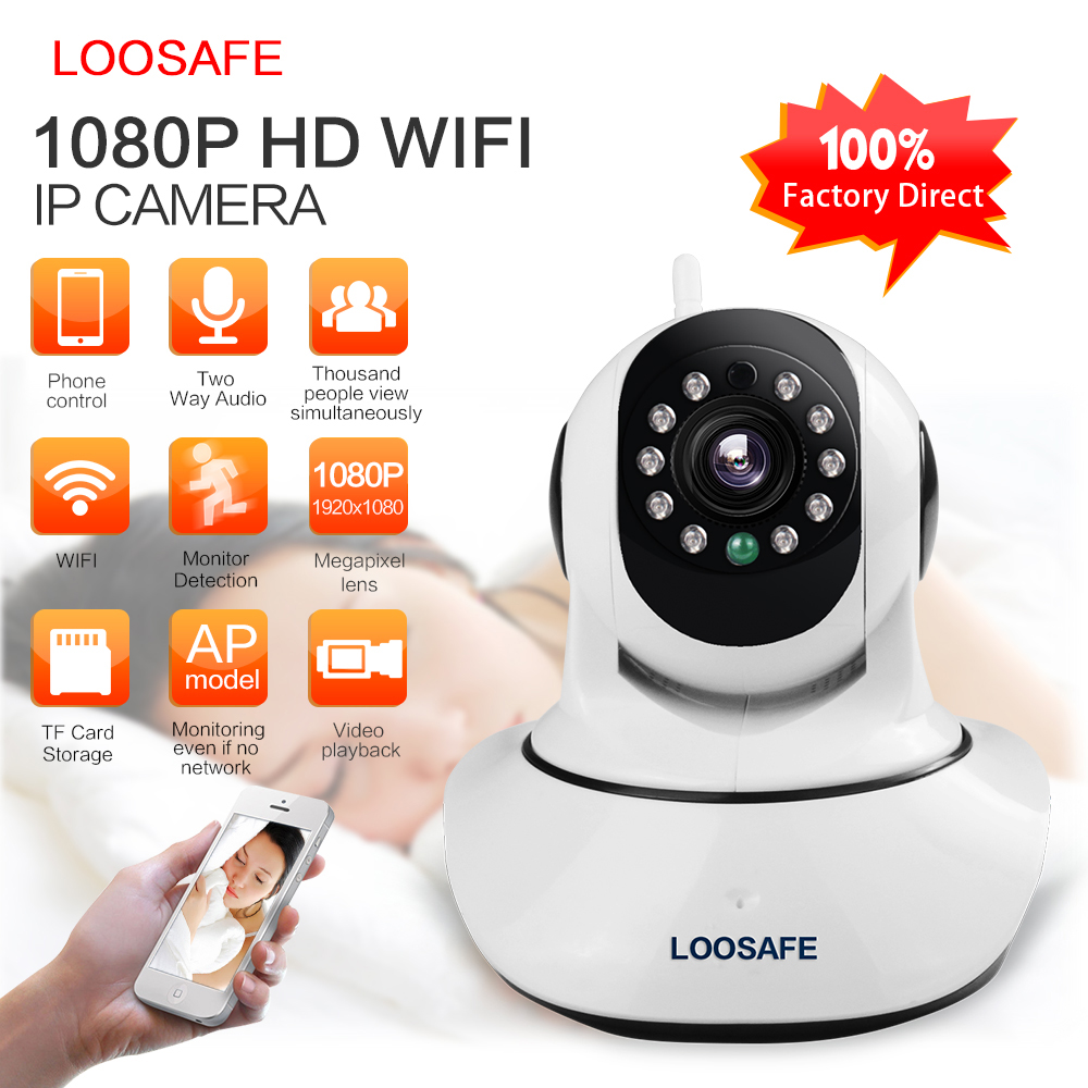 LOOSAFE IP-kamera WIFI HD 1080P kameraövervakningskamera 2 MP Baby Monitor Trådlös P2P IP Camara PTZ Wifi Security Cam Gift