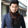 Fashion Men's Real Mink Knitted Scarf Winter Warm Hand Made Fur Scarf Luxury Mink Coat Truly Mink Fur Solid Men Scarves  S#29
