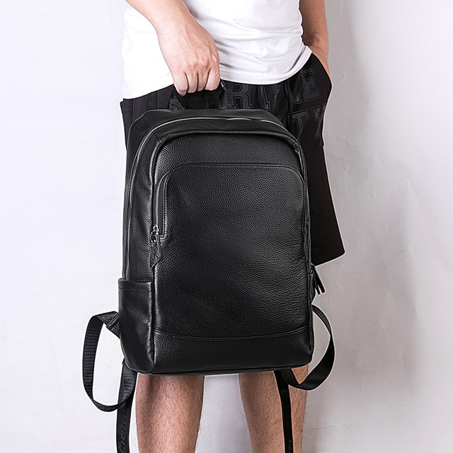 LIELANG Men's Backpack Simple High Quality Leather Backpack Male Leather Fashion Trend Youth Leisure Travel Computer Bag 4