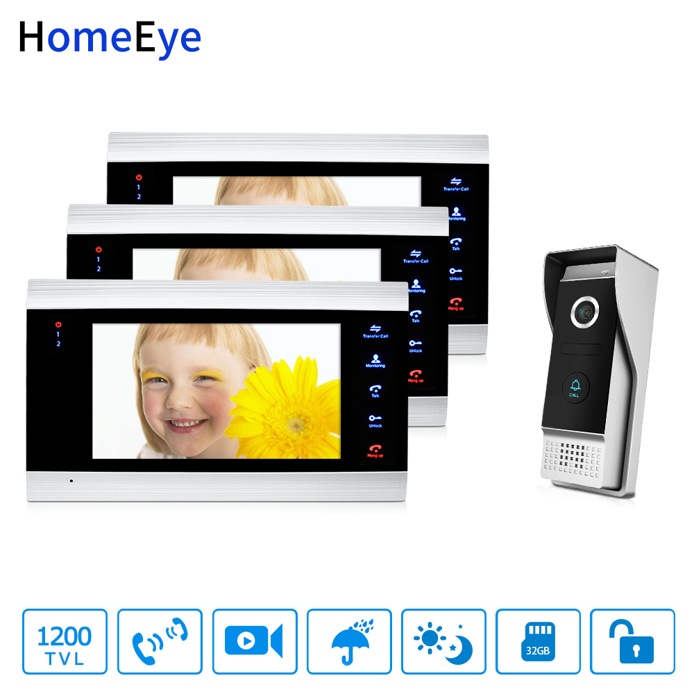 HomeEye 7'' 1200TVL Video Door Phone Video Intercom Waterproof Motion Detection OSD Menu Night Vision 1-3 Security Access System