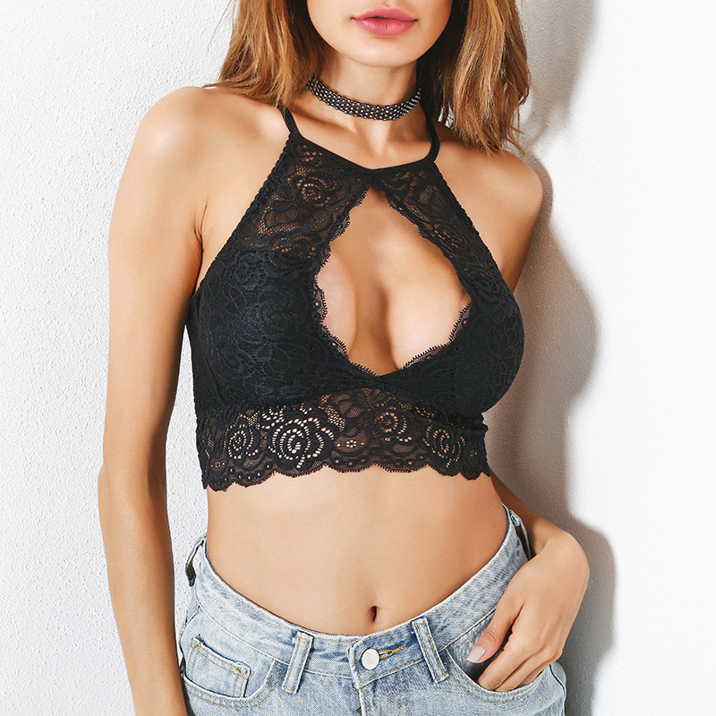 565cb17bb0 2019 Wokeayer New Strappy Lace Bralette Crop Top Sexy Sheer Bralette ...