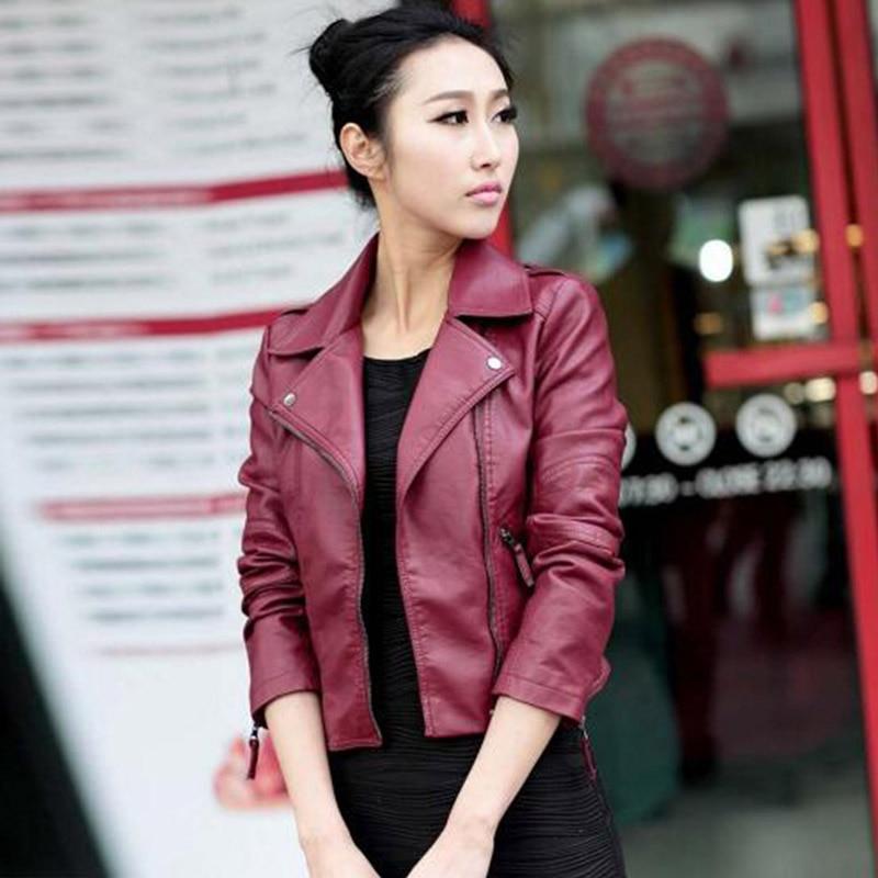 PU Women/'s Soft Leather Zipper Jacket Coat Retro Slim Biker Motorcycle Outerwear