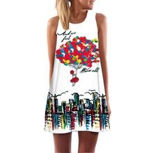 PADEGAO Casual Vintage Fashion Sundress Women Summer Dress Sexy Mini Short 2019 Balloon Printed Loose Chiffon Beach