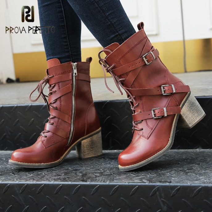 Prova Perfetto New Arrival Winter Grace Round Toe Genuine Leather Buckle Strap Boots Warm Fashion Lace
