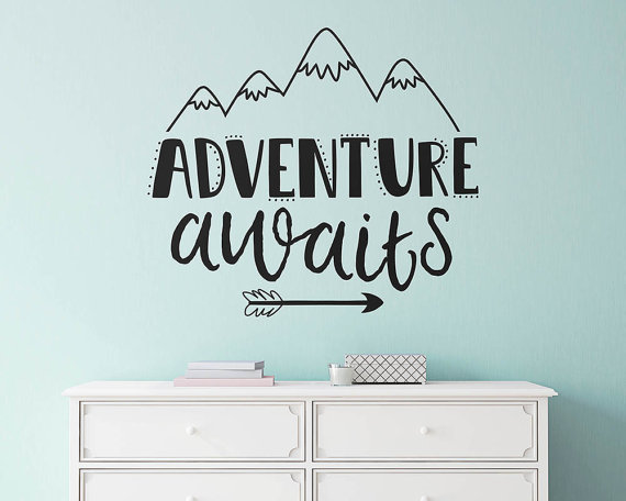 Adventure Awaits Wall Sticker Vinyl Nursery Decal Cute Quote Inspirational Mural Home Decor For Kids Room