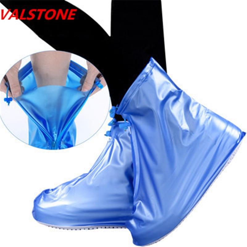 VALSTONE High Quality Unisex Waterproof Rainproof Reusable Anti-slip Rain Boot Rubber Overshoes Cycling Zippered Rain Shoe Cover