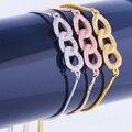 2016 New Design Zircon Geometric Chain Three Colors Micro-Inserts Cubic Zirconia Women's Bracelets Classic Bracelet Bijoux Femme