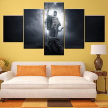 God of War Ascension Poseidon statue 5 Panel Wall Art Canvas Paintings Greek Mythology Pictures Home Decor HD Prints Posters