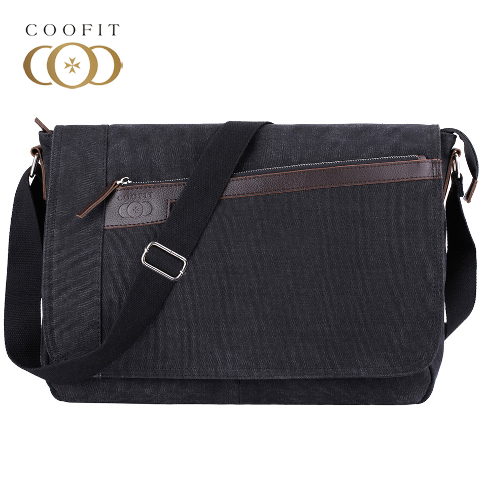 Coofit Designer Mens Canvas Messenger Crossbody Bags Casual Laptop Shoulder Bag Male Briefcase For Travel Business School Use