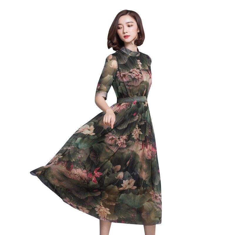 Vintage Maxi Long Dress Women Print Faux Silk Summer Elegant Chiffon Dress Vestidos Mujer Retro Ladies Dresses Plus Size C3542