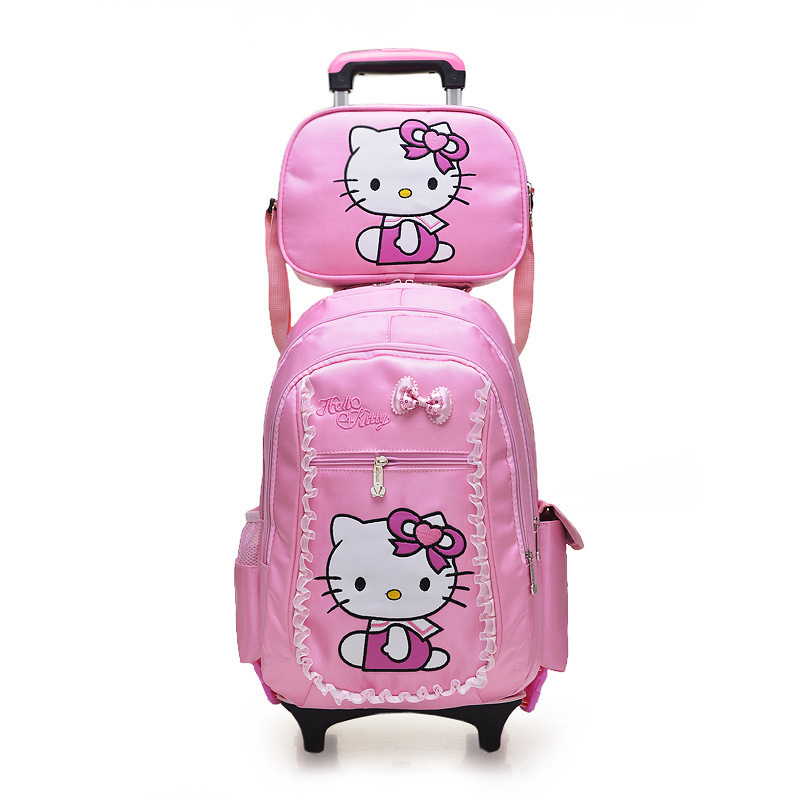 Children Removable Trolley Backpack Hello Kitty Children School ...