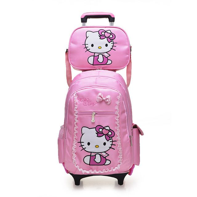 a5b88f88387b Children Removable Trolley Backpack Hello Kitty Children School Bags Kids  Backpacks With Wheel Trolley Luggage For