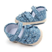 Newborn Baby Girl Shoes Spring Jean with Flower First Walkers Comfort Casual Garden