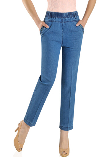 new arrival elastic waist jeans denim casual capris women straight pants high waist embroidery trousers female summer gls0602 flower embroidery jeans female blue casual pants capris 2017 spring summer pockets straight jeans women bottom a46