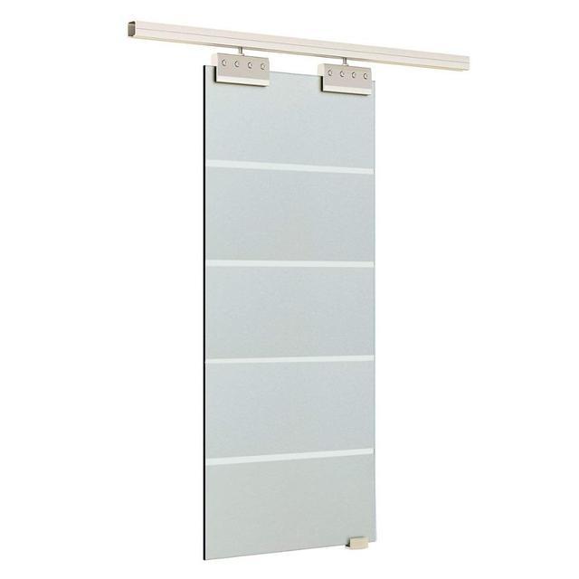 6.6FT Aluminium alloy frameless brushed glass shower sliding barn door hardware Track kit