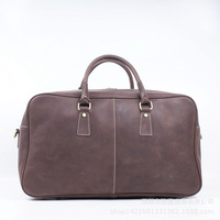 New Fashion Genuine Leather Bag Men's Leather Hand Bag Large Capacity Crazy Horse Luggage Bag Fashion Travel Men Bags