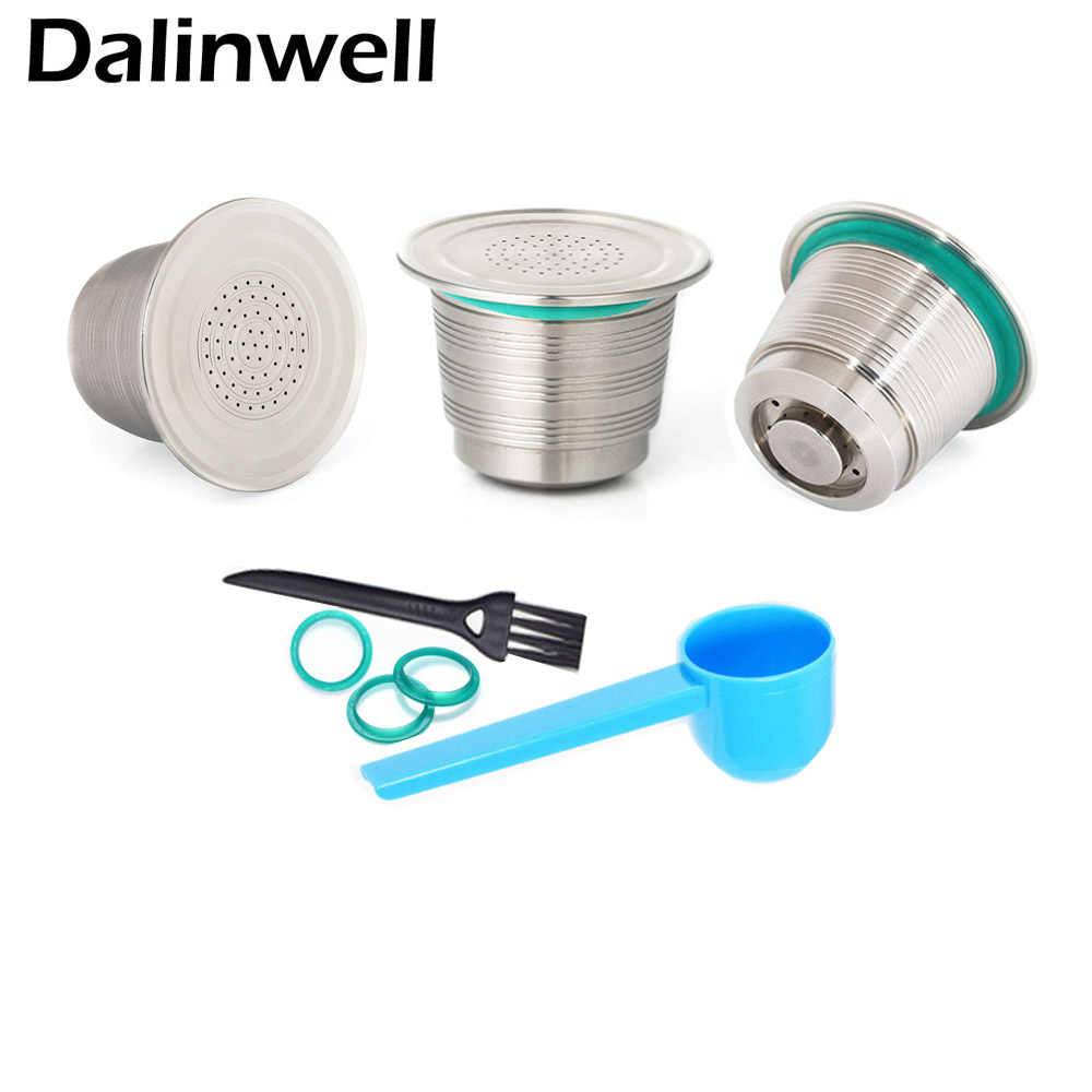 3PCS Refillable Tasse Nespresso Inox Empty Capsules Stainless Steel Reusable Filter Cup Rechargeable Inoxidable Coffee Pod Taza
