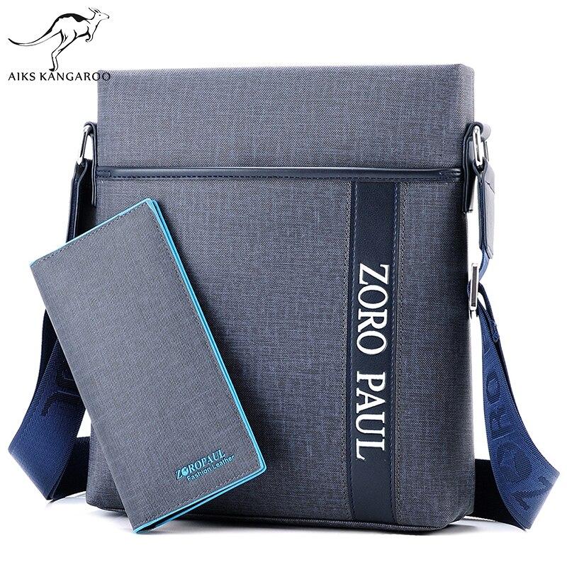 Aiks Kangaroo 2018 Men Brand Leather Shoulder Bag and Purse Male Casual Business Satchel Messenger Bag Vintage Men's Crossbody