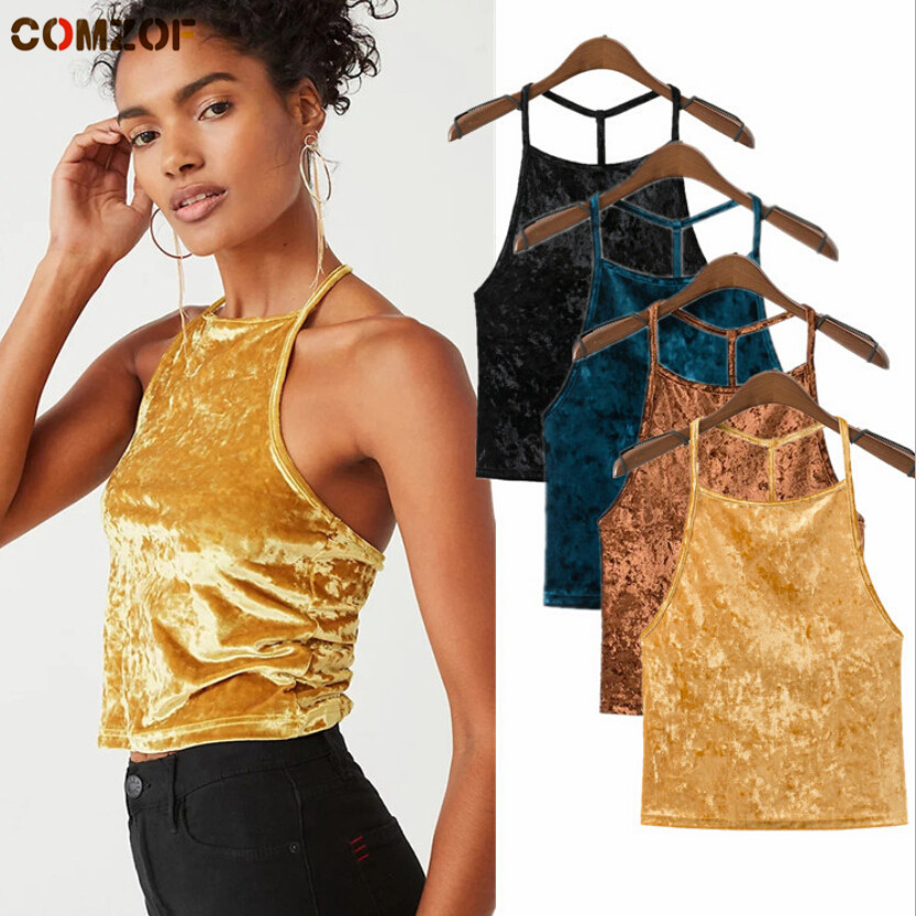 New arrival women sexy   tank     top   spring summer vintage velvet   top   womens Europe and America velour camisole debardeur femme