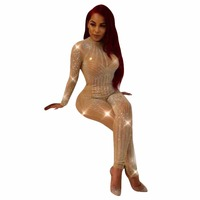 Club Sexy Full Bodysuits Sequin Mesh Patchwork See Through Women Sexy Rompers