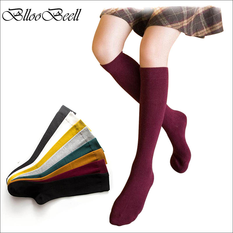 BllooBeell Women's Socks Knee-High Cute Long Cotton Socks for Women Autumn Winter School Girl Socks Casual Solid Color Dress