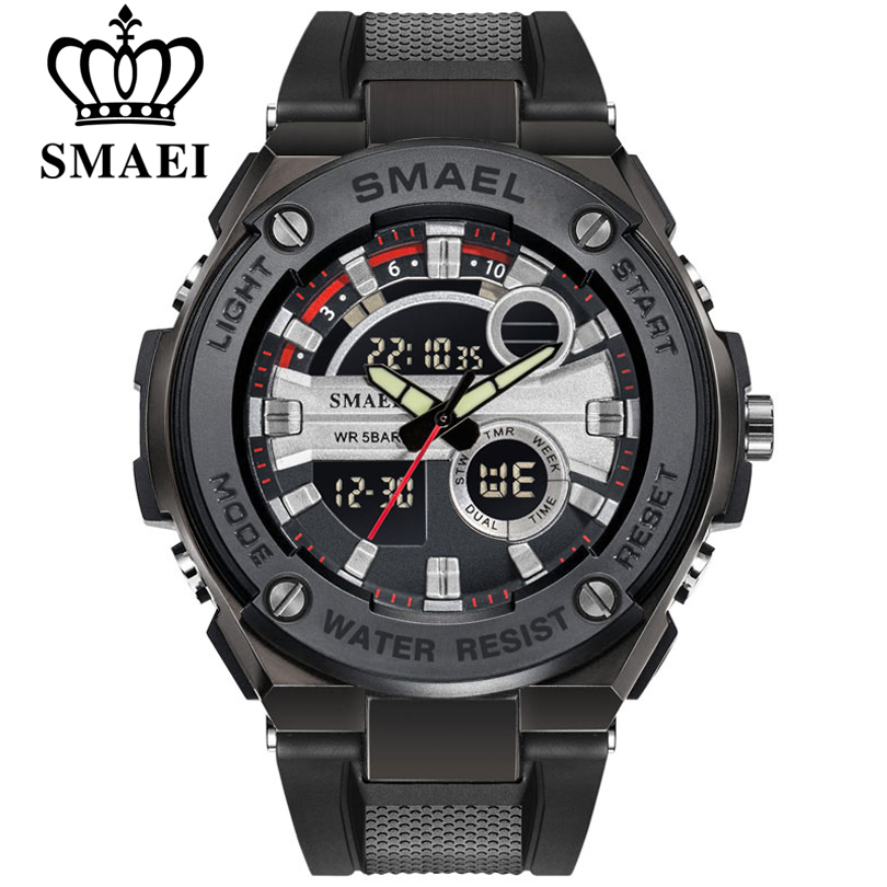 SMAEL Military Watch Waterproof Sports Watches Men's LED Digital Quartz Wristwatches Top Brand Luxury Clock Relogio Masculino
