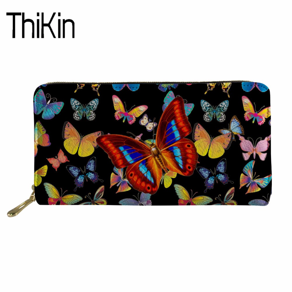 THIKIN Coin Purses Holders 3D Butterfly Print Purses& Wallets for Girls Ladies Pu Leather Rfid Wallet Money Bag Wallet Female