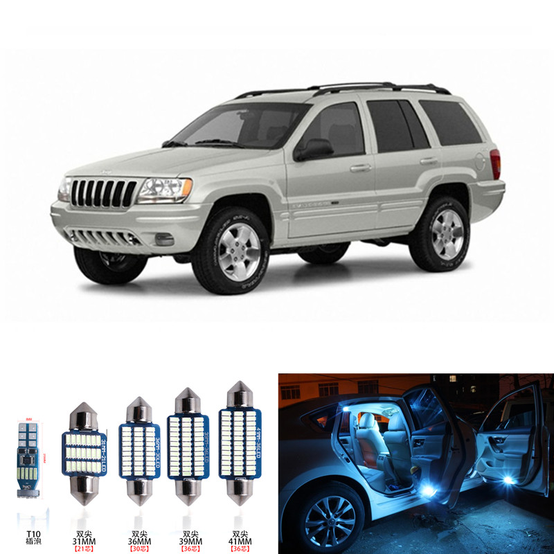 1 set Car LED Light Bulbs Canbus Interior Package Kit For 1999-2004 Jeep Grand Cherokee Map Dome Trunk License Plate Lamp blue