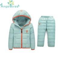 בויז סט ילדי ערכות בגדי ילדה החורף 1-7 השנה למטה מכנסיים + מעיל עמיד למים שלג ילדים חמים בגדי חליפת 2 PC JSB320