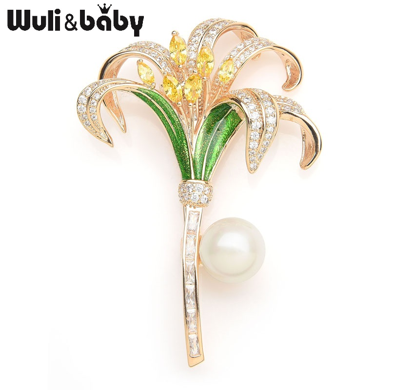 цена на Wuli&baby Luxury Crystal Lily Enamel Brooches For Women Simulated Pearl Rhinestone Flower Weddings Banquet Brooch Pins Gifts