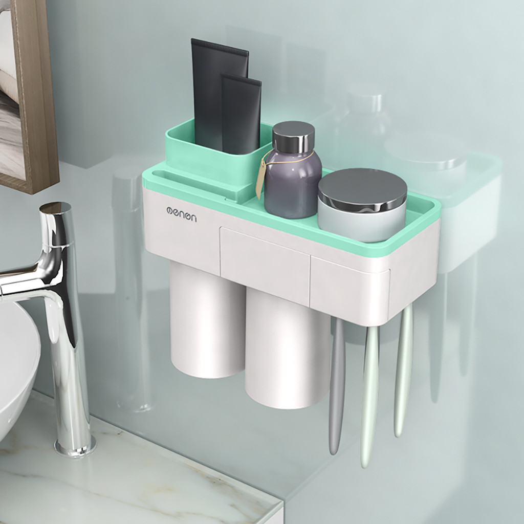 Bathroom Accessories Set Tooth Brush Holder Automatic Toothpaste Dispenser Holder Toothbrush Wall Mount Rack Bathroom Tools G604-in Toothbrush & Toothpaste Holders from Home & Garden