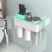 אביזרי אמבטיה סט שיניים מברשת מחזיק אוטומטי משחת שיניים Dispenser מחזיק מברשת שיניים קיר הר מדף אמבטיה כלים G604
