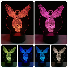цена GAOPIN Halloween Eagle Skull Shaped 3D Lamplight LED USB Mood Night Light Multicolor Touch or Remote Luminaria Change Table Lamp онлайн в 2017 году